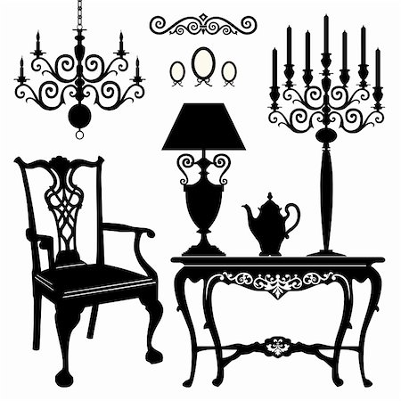 Antique decorative furniture collection, black silhouettes of furniture for your design. Vector illustration. Stock Photo - Budget Royalty-Free & Subscription, Code: 400-05748953