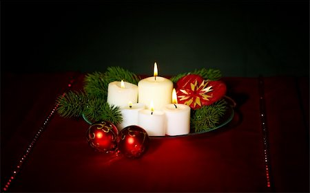 simsearch:400-05749231,k - Image of holiday composition with burning candles, decorative balls and coniferous branches on it Stock Photo - Budget Royalty-Free & Subscription, Code: 400-05749227
