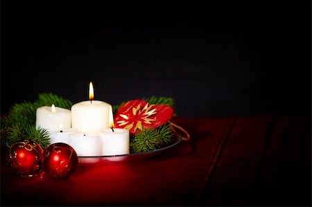 simsearch:400-05749231,k - Image of holiday composition with burning candles, decorative balls and coniferous branches on it Stock Photo - Budget Royalty-Free & Subscription, Code: 400-05749228