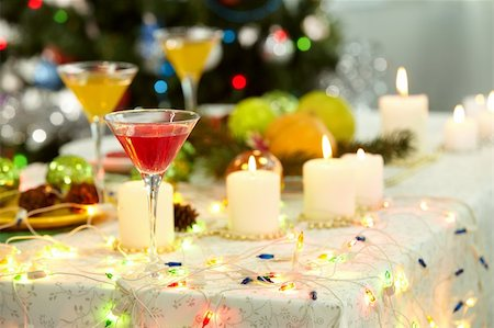 simsearch:400-05749231,k - Image of holiday objects: cocktails, burning candles and Christmas decorations Stock Photo - Budget Royalty-Free & Subscription, Code: 400-05749238