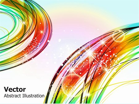 rainbow smoke background - abstract wave background with sparkle vector illustration Stock Photo - Budget Royalty-Free & Subscription, Code: 400-05749928