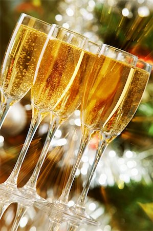 simsearch:400-05749231,k - Several champagne flutes on Christmas background Stock Photo - Budget Royalty-Free & Subscription, Code: 400-05749962