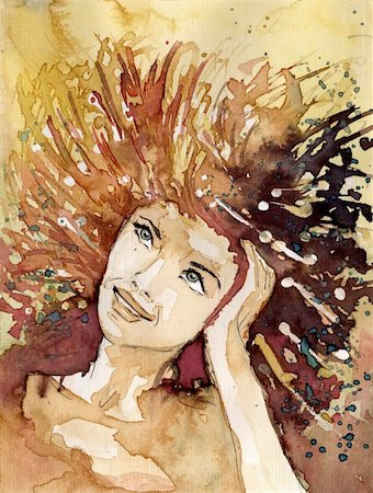 Watercolor portrait of a woman. Stock Photo - Budget Royalty-Free & Subscription, Code: 400-05740531