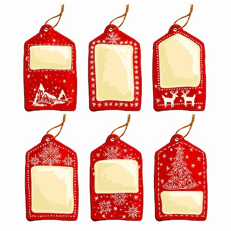 set of christmas tags, this illustration may be useful as designer work Stock Photo - Budget Royalty-Free & Subscription, Code: 400-05742122