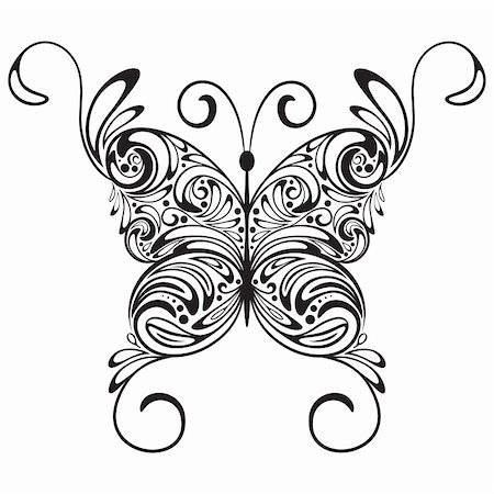 vector monochrome  tattoo butterfly Stock Photo - Budget Royalty-Free & Subscription, Code: 400-05742131