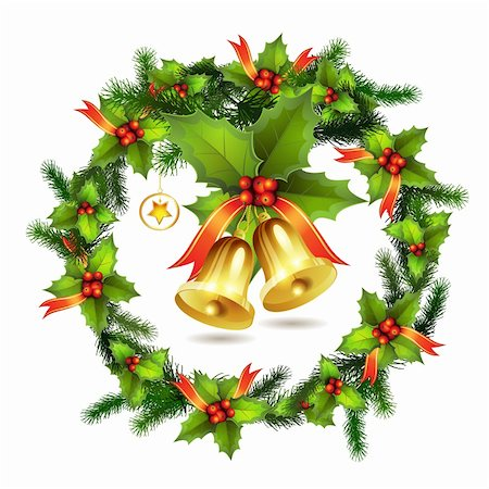 Christmas pine frame and bells Stock Photo - Budget Royalty-Free & Subscription, Code: 400-05742198