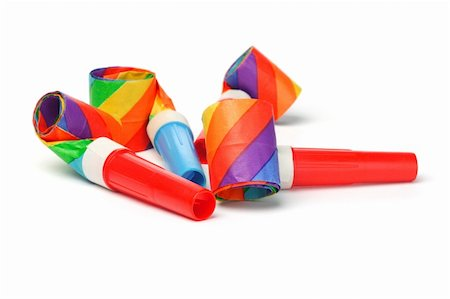 Close up of colorful party blowers on white background Stock Photo - Budget Royalty-Free & Subscription, Code: 400-05742675