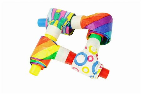 paper blower - Interlocking multicolor party blowers on white background Stock Photo - Budget Royalty-Free & Subscription, Code: 400-05742682