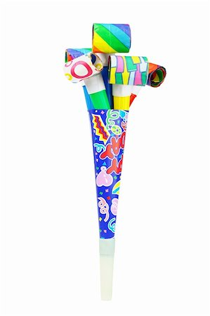 Multicolor party blowers inside paper horn on white background Stock Photo - Budget Royalty-Free & Subscription, Code: 400-05742683