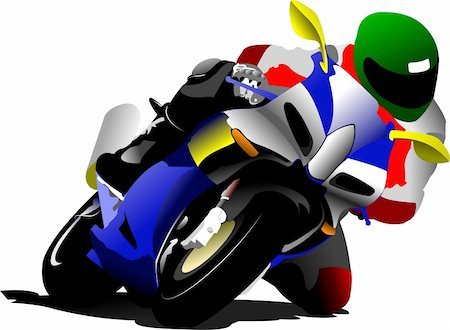 sports scooters - Biker on the road. Vector illustration Stock Photo - Budget Royalty-Free & Subscription, Code: 400-05743092