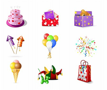 fireworks vector art - Birthday icons Stock Photo - Budget Royalty-Free & Subscription, Code: 400-05743179