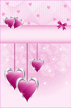 Pink love hearts symbolizing valentines day, mothers day or wedding anniversary. Copy space for text. Stock Photo - Budget Royalty-Free & Subscription, Code: 400-05743399