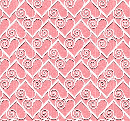 Ornamental heart lace pattern. Seamless vector background. Stock Photo - Budget Royalty-Free & Subscription, Code: 400-05743510