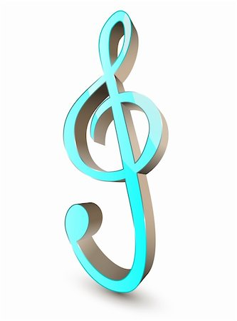 3d treble clef symbol on white background Stock Photo - Budget Royalty-Free & Subscription, Code: 400-05743754