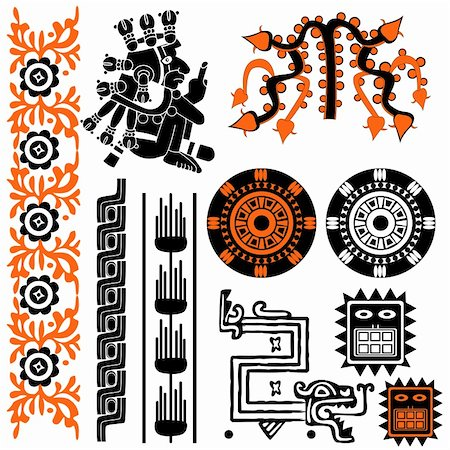 Vector image of ancient american patterns on white Stock Photo - Budget Royalty-Free & Subscription, Code: 400-05743791