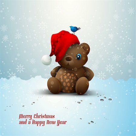 simsearch:400-04598294,k - Christmas Teddy Bear Sitting Alone in the Snow | EPS10 Vector | Layers Organized and Named Stock Photo - Budget Royalty-Free & Subscription, Code: 400-05743998