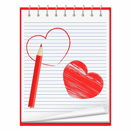 Notebook with hand drawn hearts and red pencil, vecctor eps10 illustration Stock Photo - Budget Royalty-Free & Subscription, Code: 400-05754028