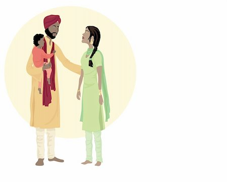 punjabi - an illustration of a sikh family including a man woman and small child in traditional dress with indian flag Stock Photo - Budget Royalty-Free & Subscription, Code: 400-05754158