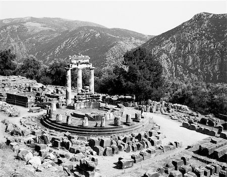 The ruins of the Sanctuary of Athena Pronaia at Delphi in Greece as seen from above. Stock Photo - Budget Royalty-Free & Subscription, Code: 400-05754237