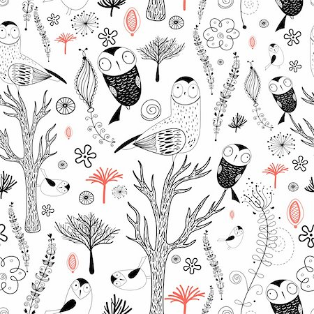 seamless graphic pattern of forest with owls on a white background decorative Stock Photo - Budget Royalty-Free & Subscription, Code: 400-05754296