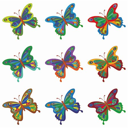 Beautiful colorful butterflies with open wings, set. Vector Stock Photo - Budget Royalty-Free & Subscription, Code: 400-05754322