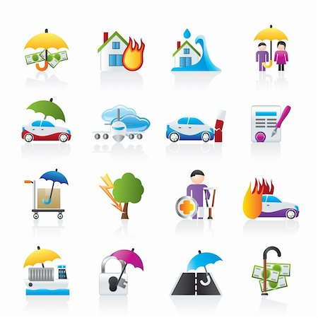 flooded homes - Disaster and risk icons - vector icon set Stock Photo - Budget Royalty-Free & Subscription, Code: 400-05755250