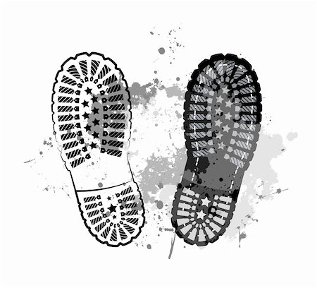 black vector trail foot on grunge background. Stock Photo - Budget Royalty-Free & Subscription, Code: 400-05755538