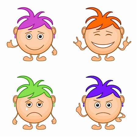 Set of smilies girls with colored hair, symbolising various human emotions. Vector Stock Photo - Budget Royalty-Free & Subscription, Code: 400-05755582
