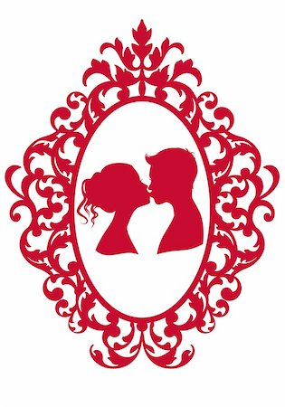 kissing couple in antique picture frame, vector background Stock Photo - Budget Royalty-Free & Subscription, Code: 400-05755603