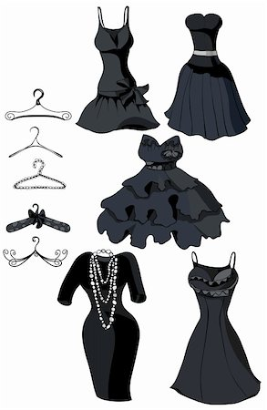 simsearch:400-04096935,k - Set of little black dresses and coat racks. Vector illustration Stock Photo - Budget Royalty-Free & Subscription, Code: 400-05750089