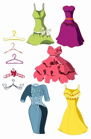 simsearch:400-04096935,k - Set of bright dresses and coat racks. Vector illustration Stock Photo - Budget Royalty-Free & Subscription, Code: 400-05750090