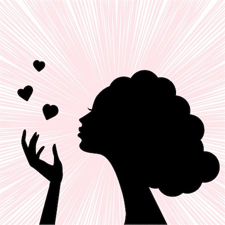 pretty in black clipart - beautiful woman face silhouette with heart kiss Stock Photo - Budget Royalty-Free & Subscription, Code: 400-05750629