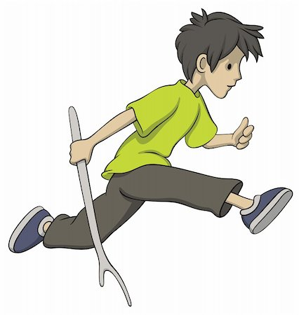Illustration of running boy with a stick Stock Photo - Budget Royalty-Free & Subscription, Code: 400-05751313