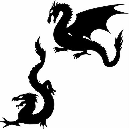 Set of two dragon silhouettes on white background Stock Photo - Budget Royalty-Free & Subscription, Code: 400-05751322