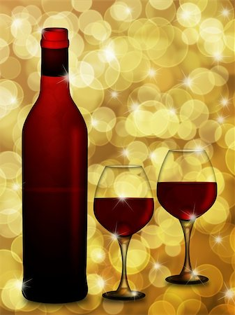 Bottle of Red Wine with Two Wine Glasses on Blurred Defocused Bokeh Background Illustration Stock Photo - Budget Royalty-Free & Subscription, Code: 400-05751421
