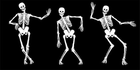 White drunk skeletons on black. Set #2. Vector Stock Photo - Budget Royalty-Free & Subscription, Code: 400-05751962