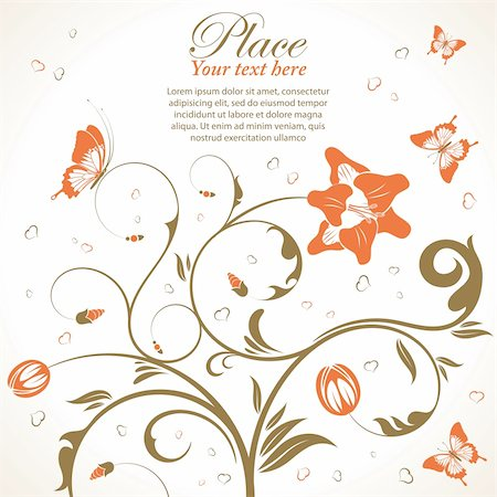 filigree designs in trees and insects - Flower theme with butterfly, element for design, vector illustration Stock Photo - Budget Royalty-Free & Subscription, Code: 400-05752350