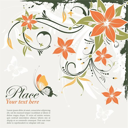 Grunge decorative floral frame with butterfly, element for design, vector illustration Stock Photo - Budget Royalty-Free & Subscription, Code: 400-05752351