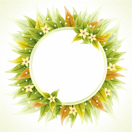 Round Floral Frame with Leaves for a Greeting Card, vector illustration Stock Photo - Budget Royalty-Free & Subscription, Code: 400-05752362