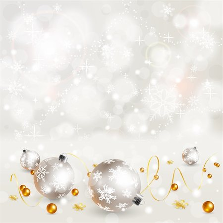 Christmas Background with Snowflakes and Bauble, element for design, vector illustration Stock Photo - Budget Royalty-Free & Subscription, Code: 400-05752417