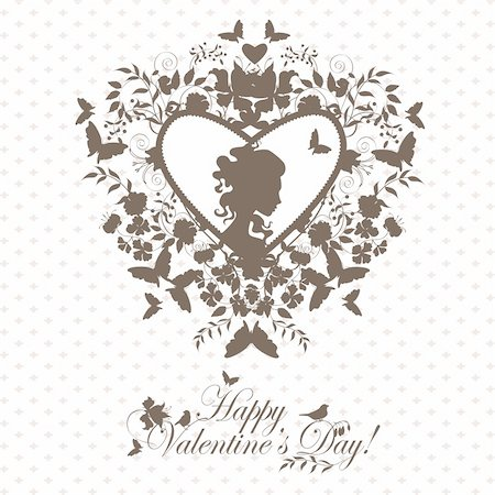 face woman beautiful clipart - Stylish valentine background with decorative heart and girl face. Stock Photo - Budget Royalty-Free & Subscription, Code: 400-05752645