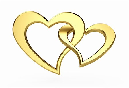 simsearch:400-04863562,k - 3d illustration of two gold hearts isolated on white Stock Photo - Budget Royalty-Free & Subscription, Code: 400-05752737