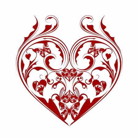 Valentines Day Heart with Butterflies and Foliage Leaf Scrolls Illustration Isolated on White Background Stock Photo - Budget Royalty-Free & Subscription, Code: 400-05752816