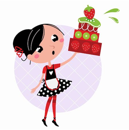 Cute retro girl holding Cake. Vector cartoon illustration Stock Photo - Budget Royalty-Free & Subscription, Code: 400-05752998