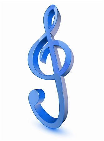 3d treble clef symbol on white background Stock Photo - Budget Royalty-Free & Subscription, Code: 400-05753106