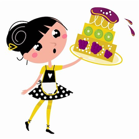pretty in black clipart - Cute retro girl holding Cake. Vector cartoon illustration Stock Photo - Budget Royalty-Free & Subscription, Code: 400-05753396