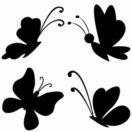 Butterflies with opened wings, black silhouettes on white background Stock Photo - Budget Royalty-Free & Subscription, Code: 400-05876149