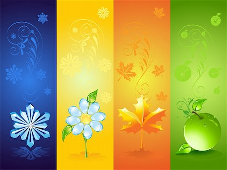 Four seasonal backgrounds Stock Photo - Budget Royalty-Free & Subscription, Code: 400-05876735