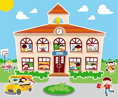 Back to school concept illustration background. Bus, children and school facade composition. Stock Photo - Budget Royalty-Free & Subscription, Code: 400-05877364
