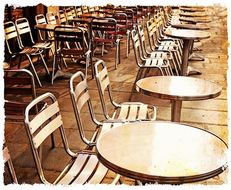 Street view of a Cafe terrace with tables and chairs,paris France Stock Photo - Budget Royalty-Free & Subscription, Code: 400-05877615